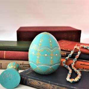 Turquoise ceramic egg