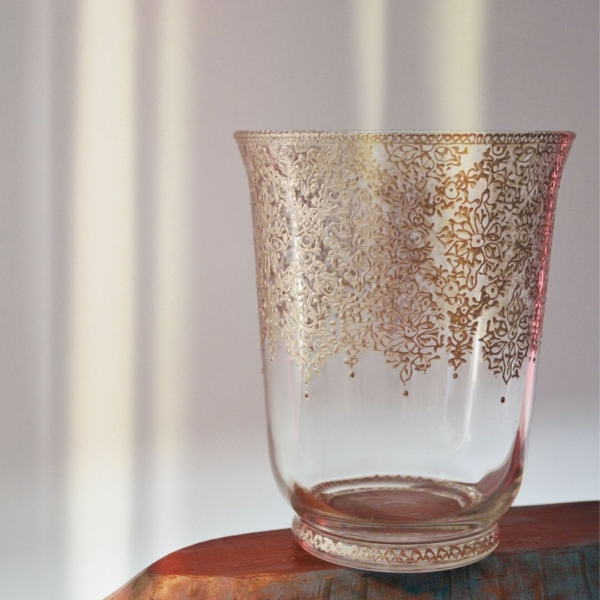 Hand painted hurricane vase pewter