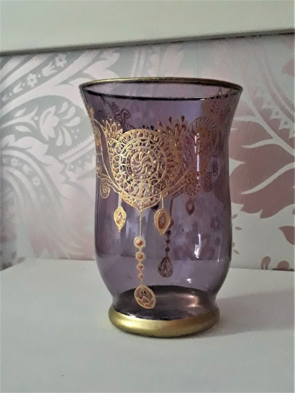 Ethnic Floral Zentangle Glass Candle Holder