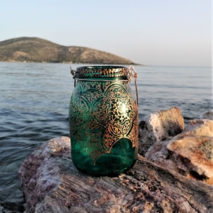 Vintage Floral Glass Lantern