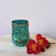 Recycled glass candle holder in turquoise