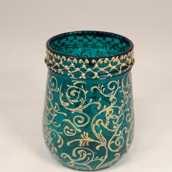 turquoise glass candle holder