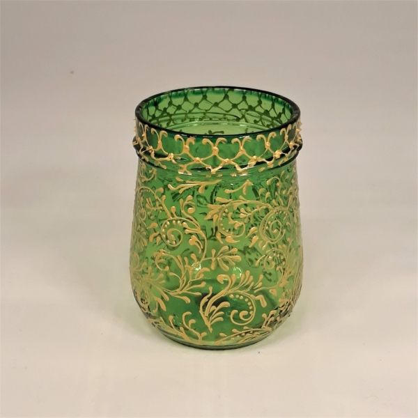 bright green recycled glass candle holder