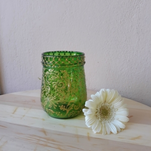 bright green glass candle holder