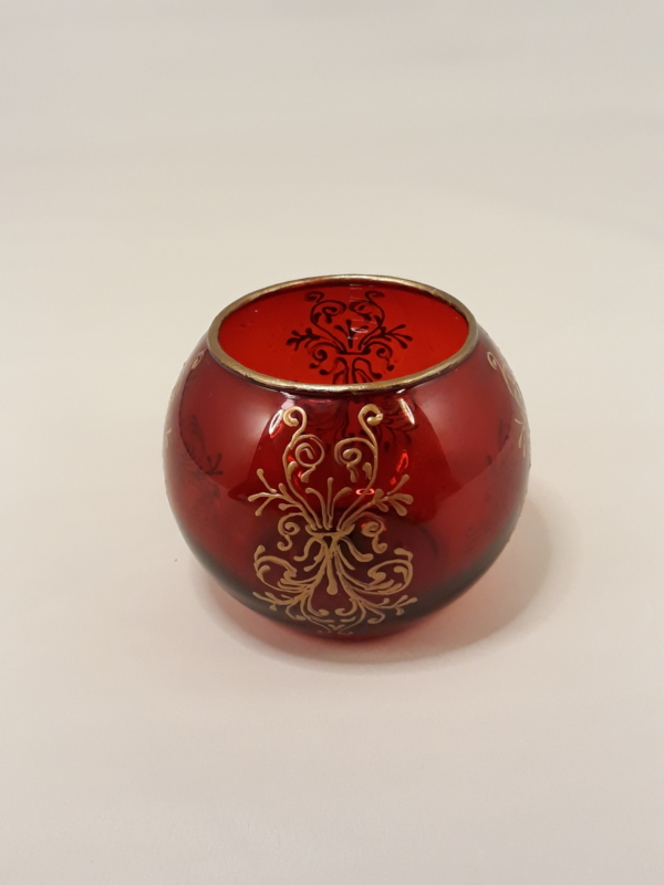 Red Glass Candle Holder