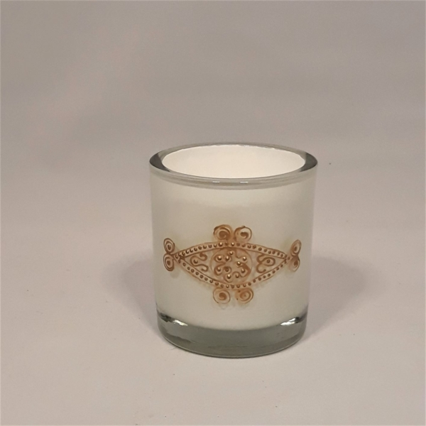 Gold Engraved Knot White Candle Holder
