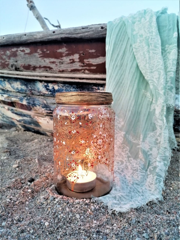Ornate glass candle holder