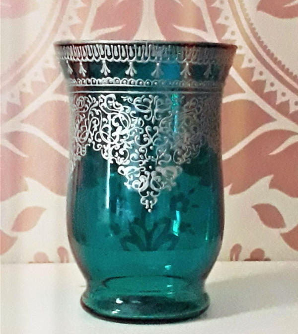 Turquoise hurricane vase