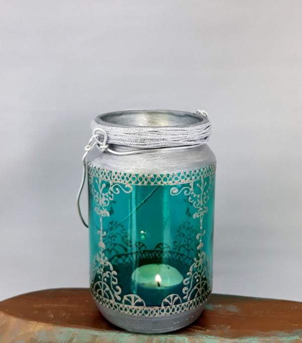 Turquoise Bohemian hanging lantern