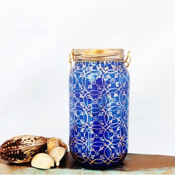 Sea blue mosaic hanging lantern