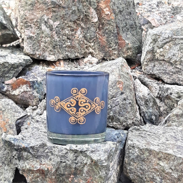 Gold engraved knot - Grey blue candle holder