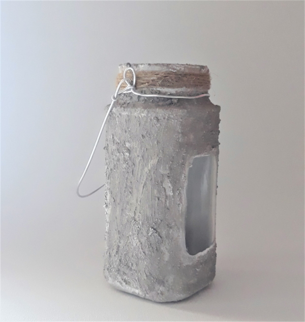 Concrete look glass lantern