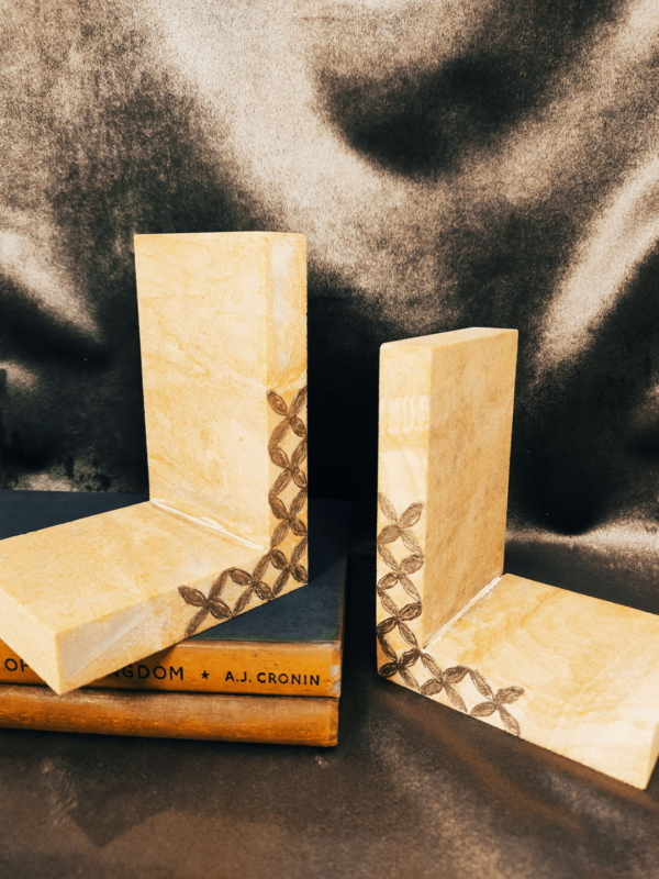 Rainbow marble bookends