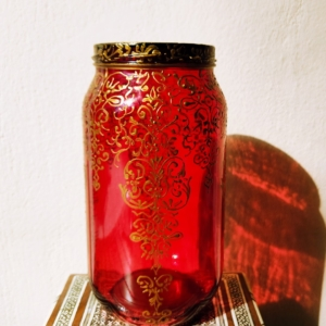 Red ornate glass