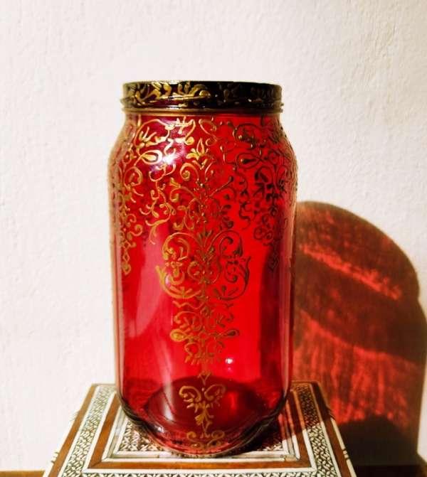 Red ornate glass