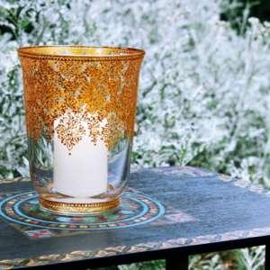 Gold accents hurricane vase