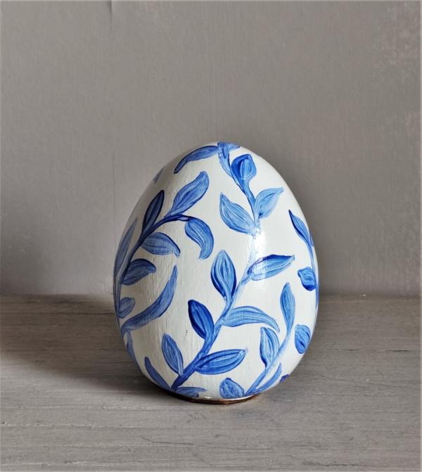 White and Blue ceramic egg